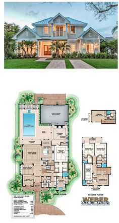 This Olde Florida house plan has all the casual elegance one could want in a home. With a great room layout, this open and inviting design offers 4,630 sq. ft. of living space with 5 bedrooms, 5 full baths and 2 half baths. The facade is composed of hardi