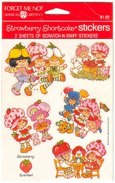 Strawberry Shortcake scratch-n-sniff stickers were made by American Greetings Corp in 1984.  This line consisted of nine different sheets of  stickers in eight different scents: strawberry
