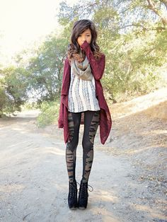 Blogger BFF Elaine Jung of the Romantic Fawn in Charlotte Russe cardigan, scarf, blouse, leggings