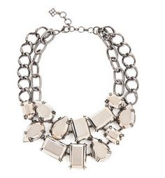 """BCBG MAX AZRIA Shine all night: just add this bold necklace to any look for an instant dose of polished chic. Dual-strand chain necklace with faceted metal-stone bib detail. Lobster-clasp closure. Measures approximately 17""""L. Iron, Copper. Imported."""