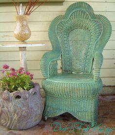 Vintage Wicker Rattan Sage Green Wicker Heart... | Wicker Blog