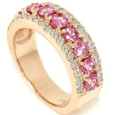Unique gold wedding ring with pink and white diamonds