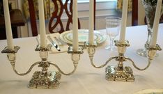 Silverplate 3-Light Candelabras Candelabra, Chandelier, Victorian Design, Victorian, Light, Candles, Home Decor, Place Card Holders, Silver Plate