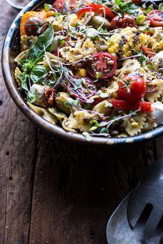 Everything But the Kitchen Sink Pasta Salad recipe Tomato Pesto, Basil Pesto, Pesto Pasta, Cooking Recipes, Healthy Recipes, Healthy Meals, Delicious Recipes, Healthy Food, Yummy Food