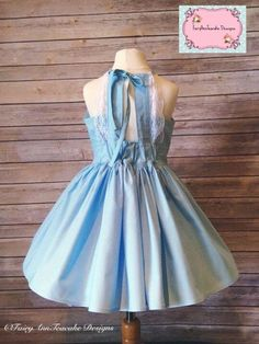 Baby blue girls haven party dress with lace   Violette fields threads