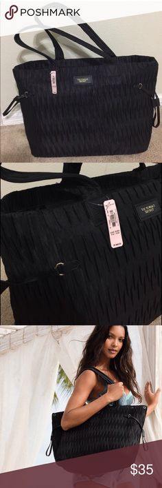"""Victoria's Secret black large carry on tote New with tag. Large luxurious tote. Black color.. One main zipper with a small pocket inside. Tote measurements : 19.5"""" L x 12"""" W x 8"""" H . Victoria's Secret Bags Totes"""