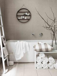 Nice light grey and white bathroom