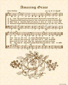 Amazing Grace Noten, Amazing Grace Song, Amazing Grace Sheet Music, Christian Wall Art, Christian Songs, Old Poetry, Hymn Art, Awake My Soul, Music Wall Art