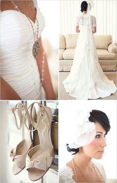 Erin Cole Head Piece, bridal fashion inspiration, wedding fashion ideas, bride necklace, wedding shoes, wedding heels, mini train wedding dress, cream nude colored heels