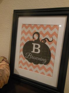 Personalized Pumpkin Chevron Burlap Print  by BurlapByEverAfter