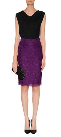 Inject rich color into work to cocktail looks with Emilio Pucci's plum-hued pencil skirt #Stylebop