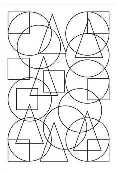 Shape Coloring Pages, Geometric Coloring Pages, Coloring Book Pages, Mandala Coloring, Coloring Sheets, Art Lessons For Kids, Art For Kids, Classe D'art, Geometric Shapes Art