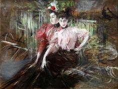 Giovani donne sedute | Giovanni Boldini | oil painting