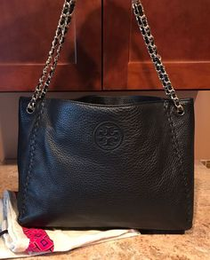 NWOT Tory Burch Marion Leather Chain Shoulder Bag - Black | eBay