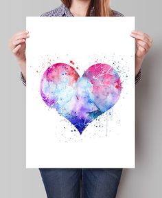 Coeur amour Poster impression d'Art mural Home par FineArtCenter Watercolor And Ink, Watercolor Paintings, Painting Abstract, Abstract Print, Art Carte, Love Posters, Happy Paintings, Art Mural, Art Journal Inspiration