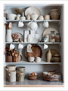 Open shelves with a really pretty collection of cream and buff crockery Kitchen Shelves, Kitchen Pantry, Kitchen Dining, Kitchen Decor, Kitchen Storage, Kitchen Ideas, Open Kitchen, Country Kitchen, Open Pantry
