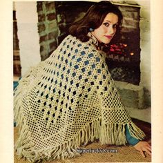 Reprint Vintage Diamond Shawl crochet pattern in PDF instant download version