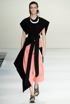 Spring 2015 Ready-to-Wear - Marni -- Aysmmetric drpaed tops and bottoms in black, white pale coral pink.