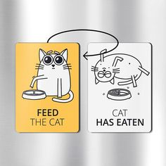 Cat magnets FEED THE CAT funny magnets cat funny fridge