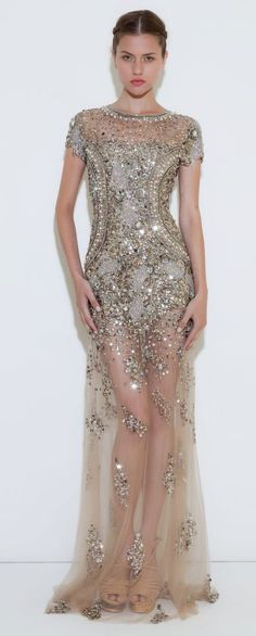 Sequin. Sheer. Metallic. Silver. Fancy. Formal. Beaded. Sexy. Romantic. Glamorous. Form fitting.