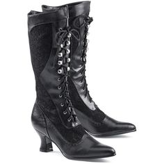 Laces and Lace Boots (£70) ❤ liked on Polyvore featuring shoes, boots, black, footwear, heels, black goth boots, fancy boots, black heel boots, fancy shoes e black shoes