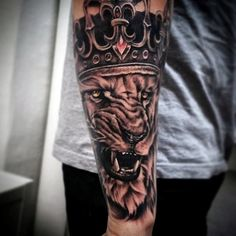 Roaring Lion With Ruby Crown Tattoo Forearms Men