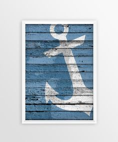 Anchor Print, Nautical wall art, Wood Anchor Sign, Marine Style, Sea, Ocean…