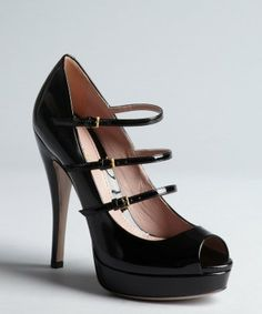style #325904901 black patent leather multi-strapped platform pumps