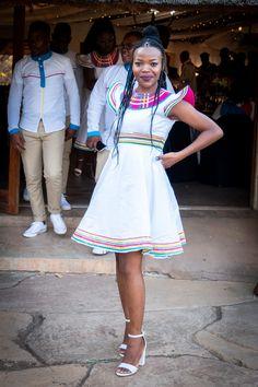 Me wearing the modern Sepedi cocktail dress 💜 Pedi Traditional Attire, Sepedi Traditional Dresses, African Traditional Wear, African Prints, African Fabric, African Fashion Dresses, African Dress, Graduation Dresses, Weeding