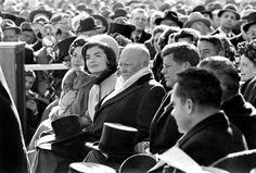 Lady Bird Johnson, Jackie Kennedy, FORMER PRESIDENT DWIGHT D. EISENHOWER,  PRESIDENT JOHN F.KENNEDY, Vice President Lyndon Johnson and Richard Nixon during JFK's inauguration.  -- January 20, 1961