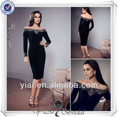 QQ378 Black tea length mother of the bride dresses with sleeve $189~$250