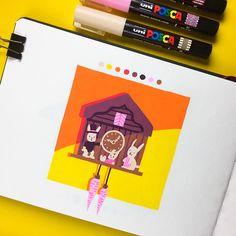 Inktober 2018 on Behance Posca Marker, Marker Art, Doodle Inspiration, Sketchbook Inspiration, Chevron Canvas Art, Colorful Drawings, Art Drawings, Gouache, Paint Markers