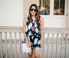 haute off the rack, floral romper, kelly wynne handbag, louisiana fashion blogger, women's fashion, summer outfit, summer style, kendra scott summer collection