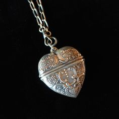 Finding Neverland, Antique Locket, Silver Lockets, Heart Locket, Pendant Necklace, Antiques, Etsy, Jewelry, Windows