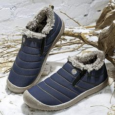 Womens Large Size Unisex Waterproof Fur Lining Slip On Snow Boots Mens Snow Boots, Warm Snow Boots, Winter Boots, Heeled Boots, Shoe Boots, Ankle Boots, Women's Shoes, Shoes Sneakers, Canvas Sneakers