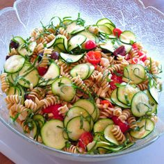 zucchini pasta salad. made it -- delicious chilled! could probably add chicken if you wanted.