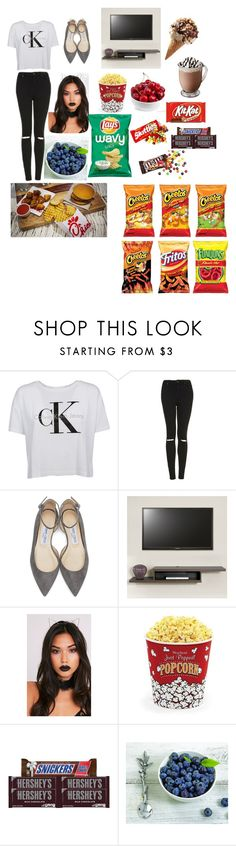 """Untitled #88"" by queenasma ❤ liked on Polyvore featuring Calvin Klein, Topshop, Jimmy Choo, West Bend, Hershey's and Vagabond House"