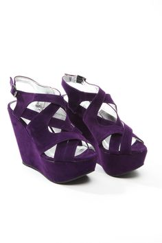 Purple Strappy Wedges <3