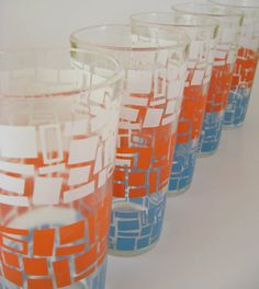 MidCentury Modern Abstract Drinking Glasses Set of by WoolTrousers, via etsy