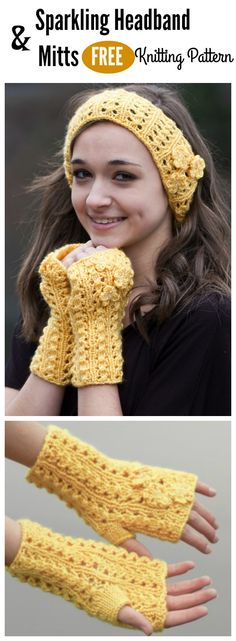 Sparkling Headband and Mitts Free Knitting Pattern