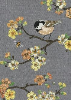 Greeting cards in collaboration with Bug Art Ltd. Freehand Machine Embroidery, Free Motion Embroidery, Free Machine Embroidery, Embroidery Applique, Fabric Cards, Fabric Postcards, Bird Applique, Applique Patterns, Coal Tit