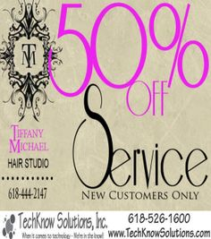 Front of Postcard for Tiffany Michael Hair Studio #techknowsolutions