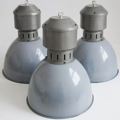 Oversized Vintage Czechoslovakian factory shade - in a cool grey