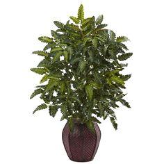 Nearly Natural Bracken Fern with Decorative Planter (Bracken Fern), Brown