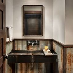 Example of a mountain style metal tile dark wood floor and brown floor powder room design in Other with white walls and a trough sink Installing Wainscoting, Wainscoting Panels, Wainscoting Ideas, Trough Sink, Powder Room Design, Dark Wood Floors, Wood Panel Walls, How To Clean Furniture, White Walls