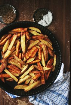 BASIL, FENNEL, BLACK PEPPER CHUNKY FRIES ~~~ potato and sweet potato, deep-fried or baked options shared. [peegaw] [french fries, fries, pommes frites, frites, frieten, chips, potato wedges, steak fries, potato logs, shoestring fries, shoestring potatoes]