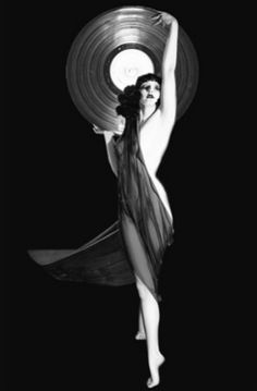 record pin up, art deco style
