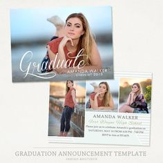 Senior Graduation Announcement Template for by IndigoBoutique
