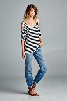 Stripe Short Sleeve Cold Shoulder Top