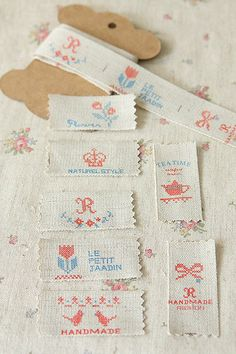 Items similar to Linen-Cotton Sewing Tape-Cross Stitch Theme-Ribbon-Trim-Sew on Ribbon-Japanese Label Tape on Etsy Quilt Labels, Fabric Labels, Sewing Hacks, Sewing Tutorials, Sewing Projects, Embroidery Monogram, Embroidery Patterns, Kit Bebe, How To Finish A Quilt